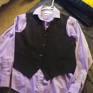 Boys long sleeve button up shirt, and vest.